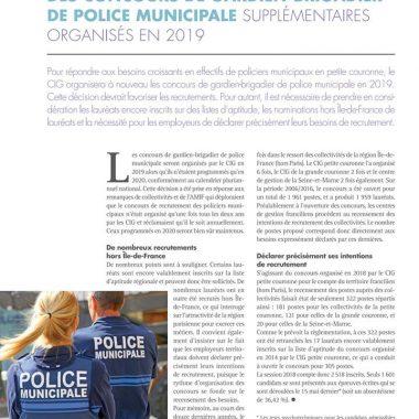 Concours exceptionnel de Gardien de Police Municipal en 2019